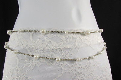 Silver Chains Hip High Waist Belt White Imitation Pearl New Women Fashion Accessories S M L XL - alwaystyle4you - 5