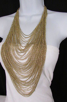 Extra Long Gold Multi Strands Chains Necklace + Earrings Set New Women Fashion - alwaystyle4you - 12