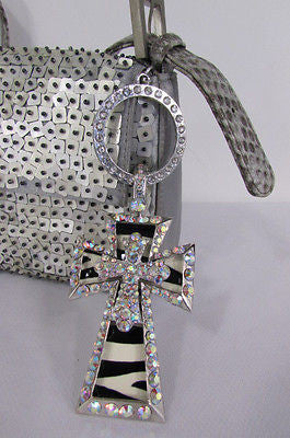 New Women Silver Metal Plate Scarf Necklace Pendant Charm Big Cross Rhinestones - alwaystyle4you - 10