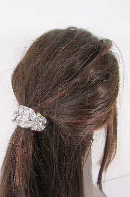 Sexy Women Silver Metal Ponytail Holder Silver Rhinestones Fashion Hair Jewelry