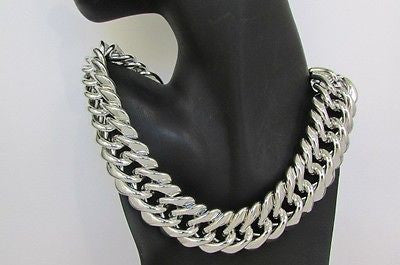 Silver Thick Big Chains Short Light Weight Chunky Necklace New Women Fashion Accessories
