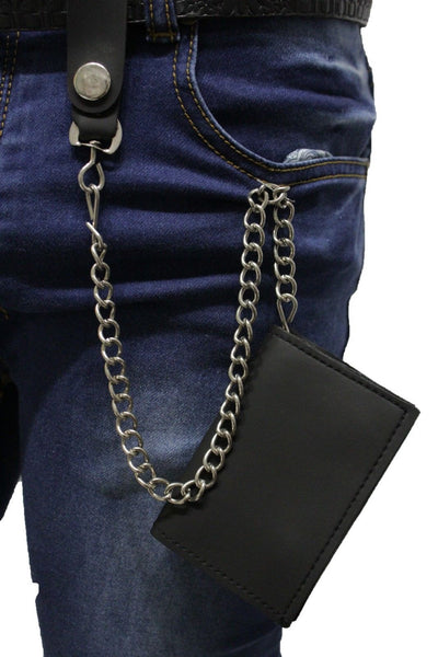 Silver Metal Wallet Chains KeyChain Jeans Black Trifold Faux Leather Wallet Men Fashion Accessories