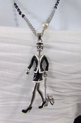 New Women Silver Metal Chains Fashion Necklace Big 60'S Lady Walking Dog Pendant - alwaystyle4you - 1