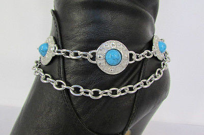 Turqoise Blue Beads Silver Metal Boot Chain Bracelet One Strap New Women Fashion Western - alwaystyle4you - 3
