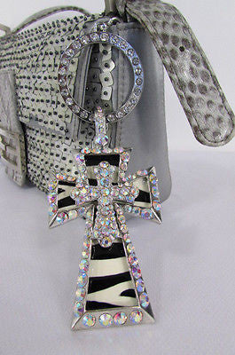 New Women Silver Metal Plate Scarf Necklace Pendant Charm Big Cross Rhinestones - alwaystyle4you - 4