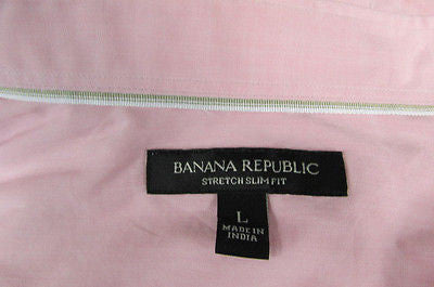 Banana Republic Men Pink Button Down Dress Shirt Long Sleeves Classic Large - alwaystyle4you - 4