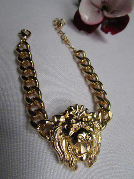 Gold Metal Thick Light Chains Bracelet Big Lion Head Trendy New Women Fashion Jewelry Accessories - alwaystyle4you - 8