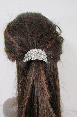 Sexy Women Silver Metal Ponytail Holder Silver Rhinestones Fashion Hair Jewelry - alwaystyle4you - 9
