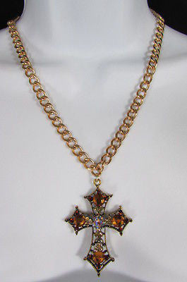New Women Gold Metal Chain Fashion Necklace Big Cross Brown Rhinestones Pendant - alwaystyle4you - 1