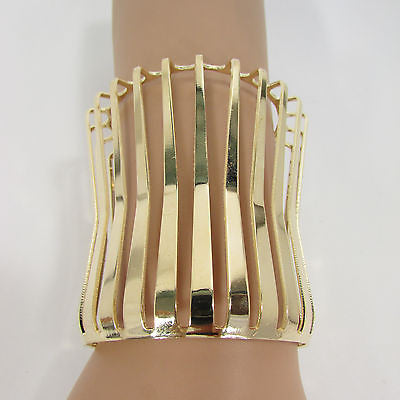 "Gold Wide Metal Cuff Bracelet Unique Cut Shape  3"" Long New Women Fashion Jewelry Accessories - alwaystyle4you - 1"