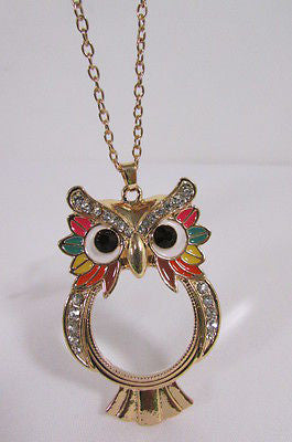 Gold Metal Long Thin Chains Owl Magnifying Glass Pendant Necklace New Women Fashion Accessories