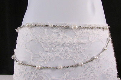 Silver Chains Hip High Waist Belt White Imitation Pearl New Women Fashion Accessories S M L XL - alwaystyle4you - 9