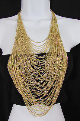 Gold Multi Strands Chains Extra Long Necklace Earrings Set New Women Fashion Accessories