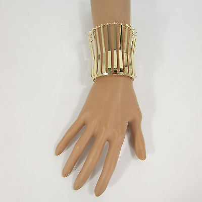 "Gold Wide Metal Cuff Bracelet Unique Cut Shape  3"" Long New Women Fashion Jewelry Accessories - alwaystyle4you - 2"