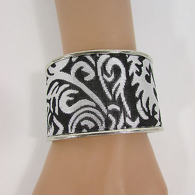"Silve Metal Cuff Bracelet Unique Leaves Detail 2"" Long New Women Fashion Jewelry Accessories"