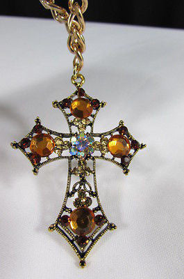 Gold Metal Chain Big Cross Brown Rhinestones Pendant Necklace New Women Fashion Accessories