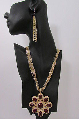 Gold Metal Chains Big Dark Red Flower Pendant Long Necklace Earrings Set New Women Fashion Accessories