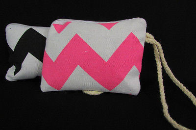 New Women Fashion Mini Purse Fabric Make Up Coin Wallet Chevron Print Rope Starp - alwaystyle4you - 4