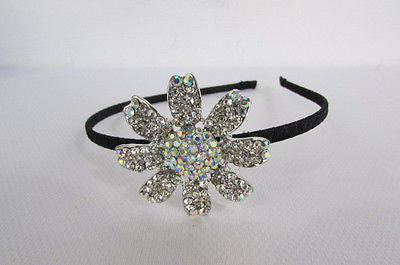 New Women Classic Fashion Headband Large Flower Silver Rhinestones Hair Band - alwaystyle4you - 3