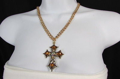 New Women Gold Metal Chain Fashion Necklace Big Cross Brown Rhinestones Pendant - alwaystyle4you - 11