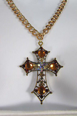 New Women Gold Metal Chain Fashion Necklace Big Cross Brown Rhinestones Pendant - alwaystyle4you - 10
