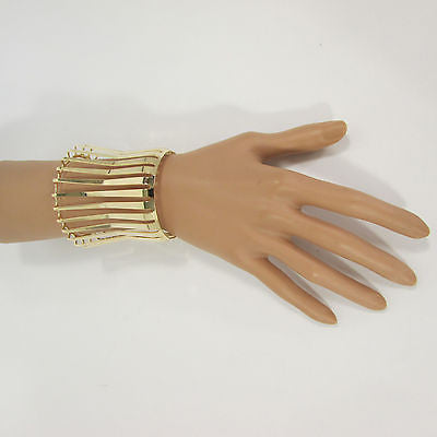 "Gold Wide Metal Cuff Bracelet Unique Cut Shape  3"" Long New Women Fashion Jewelry Accessories - alwaystyle4you - 4"