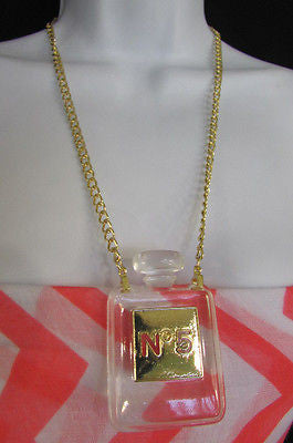 New Women Gold Metal Chains Fashion Necklace Clear Plastic Perfume Bottle No 5 - alwaystyle4you - 12
