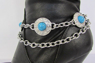 Turqoise Blue Beads Silver Metal Boot Chain Bracelet One Strap New Women Fashion Western - alwaystyle4you - 11