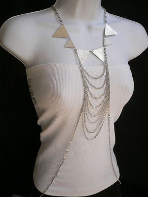 New Women Silver Body Jewerly Multi Chains Crew Neck Spikes Shape Long Necklace - alwaystyle4you - 5