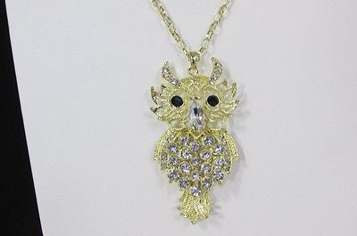 "New Women 26"" Gold Metal Chains Fashion Necklace Big Owl Silver Rhinestone - alwaystyle4you - 11"