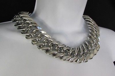 New Women Short Lightweight Chunky Silver Thick Big Chains Fashion Necklace - alwaystyle4you - 12
