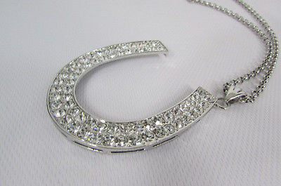 Long Silver Metal Chain Necklace Horse Shoe Rhinestones Pendant New Men Fashion Style - alwaystyle4you - 7