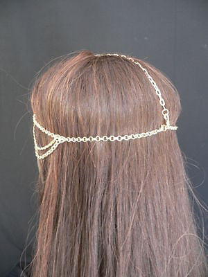 New Miami Beach Women Gold Big Ring Metal Head Chain Jewelry Hair Accessories - alwaystyle4you - 5
