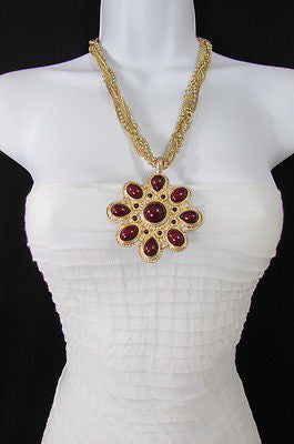 Long Gold Chains Necklace Big D. Red Flower Pendant + Earrings Set New Women Fashion - alwaystyle4you - 11