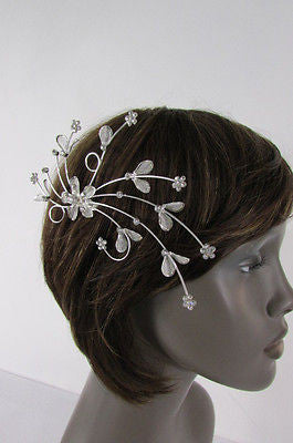 New Women Silver Metal Big Flowers Leaf Rhinestone Large Head Fashion Jewelry - alwaystyle4you - 6