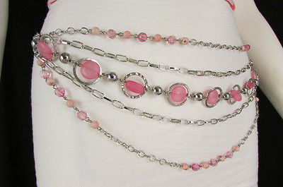 Pink Beads Silver Metal Multi Chains 5 Strands Hip Waist Belt New Women Fashion Accessories XS S M L - alwaystyle4you - 8