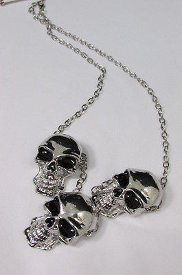 Long Metal Chains Fashion Necklace 3 Big Silver Black Skulls Pendant New Men Style Accessories - alwaystyle4you - 3