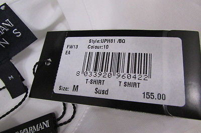 New Emporium Armani Men Signature White Fashion Authentic T-shirt Crew-neck Top Medium $195 - alwaystyle4you - 3