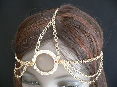 New Miami Beach Women Gold Big Ring Metal Head Chain Jewelry Hair Accessories