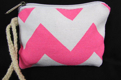 New Women Fashion Mini Purse Fabric Make Up Coin Wallet Chevron Print Rope Starp - alwaystyle4you - 34