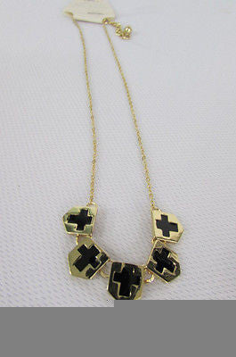 New Women Gold Metal Chain Fashion Necklace Five Mini Black Crosses Long Pendant - alwaystyle4you - 7
