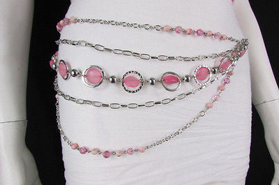 Pink Beads Silver Metal Multi Chains 5 Strands Hip Waist Belt New Women Fashion Accessories XS S M L - alwaystyle4you - 6