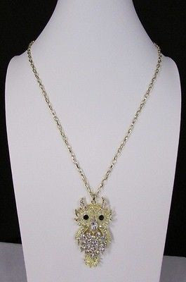 "New Women 26"" Gold Metal Chains Fashion Necklace Big Owl Silver Rhinestone - alwaystyle4you - 3"