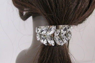 Sexy Women Silver Metal Ponytail Holder Silver Rhinestones Fashion Hair Jewelry - alwaystyle4you - 2