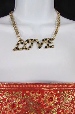 "New Women Fashion Necklace Gold Metal Chains LOVE Pendant Black Rhinestone 16"" - alwaystyle4you - 5"