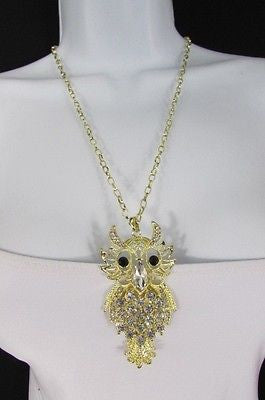 "New Women 26"" Gold Metal Chains Fashion Necklace Big Owl Silver Rhinestone - alwaystyle4you - 5"
