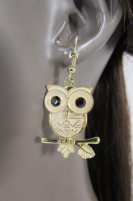New Women Gold Metal Owl Jewelry Earrings Set Black Eyes Birds Hook Light Weight - alwaystyle4you - 3