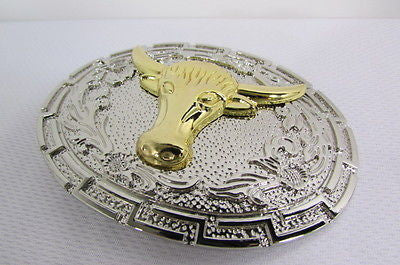 "New Belt Buckle Men Women 3.5""/2.75"" Big Gold Bull Head Silver Metal Western Fashion Belt Buckle 3D Texas long Horn Cow - alwaystyle4you - 7"