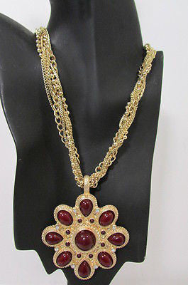 Long Gold Chains Necklace Big D. Red Flower Pendant + Earrings Set New Women Fashion - alwaystyle4you - 12