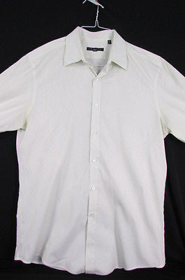White Button Down Dress Shirt Green Pin Stripes Theory Classic New Men Size Large 34-35